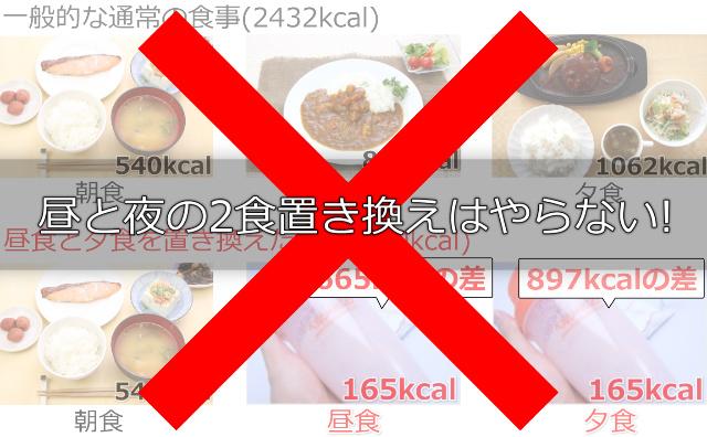 ヘルシーバンク美容液ダイエットシェイクは昼と夜の2食置き換えはやらない