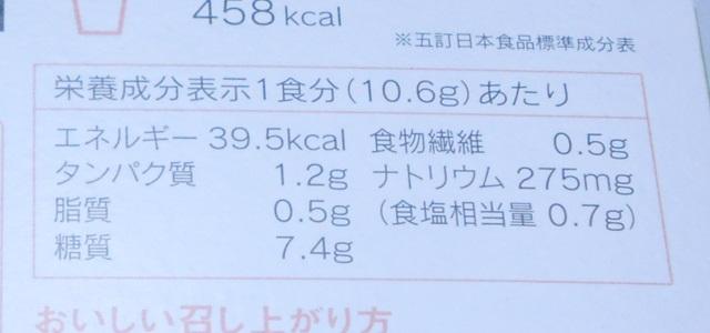 ローカロ生活の緑黄色野菜と玉子の雑炊の栄養成分表示