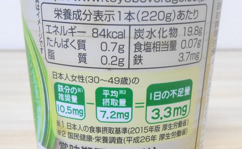 【ミニストップ】グリーンスムージーの栄養成分表示