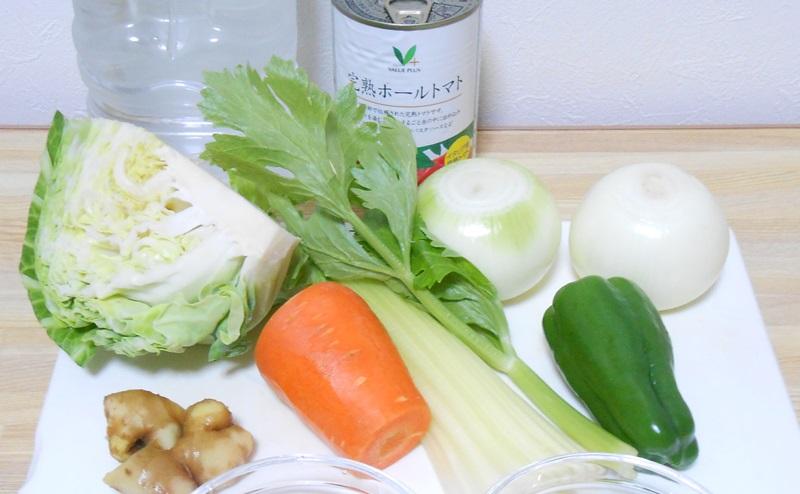 脂肪燃焼スープのレシピ(キャベツ、セロリ、にんじん、ピーマン、玉ねぎ、トマト缶、しょうが、ミネラルウォーター)