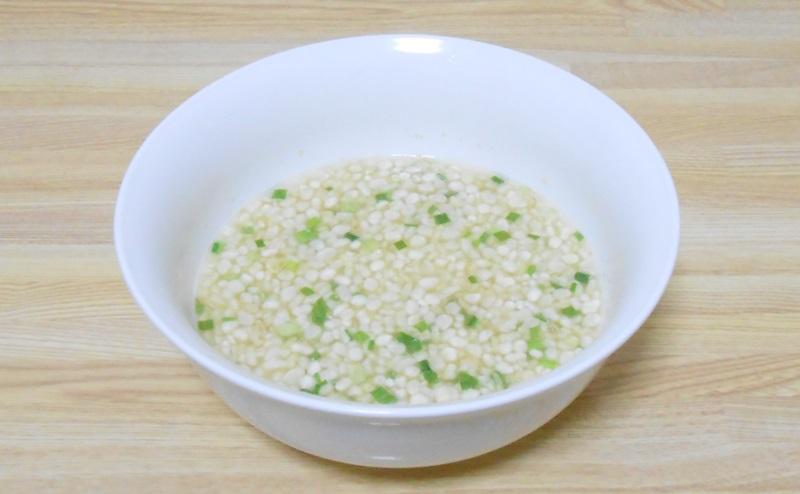 ヘルシーキューピー玄米雑炊の鶏和風だしの完成