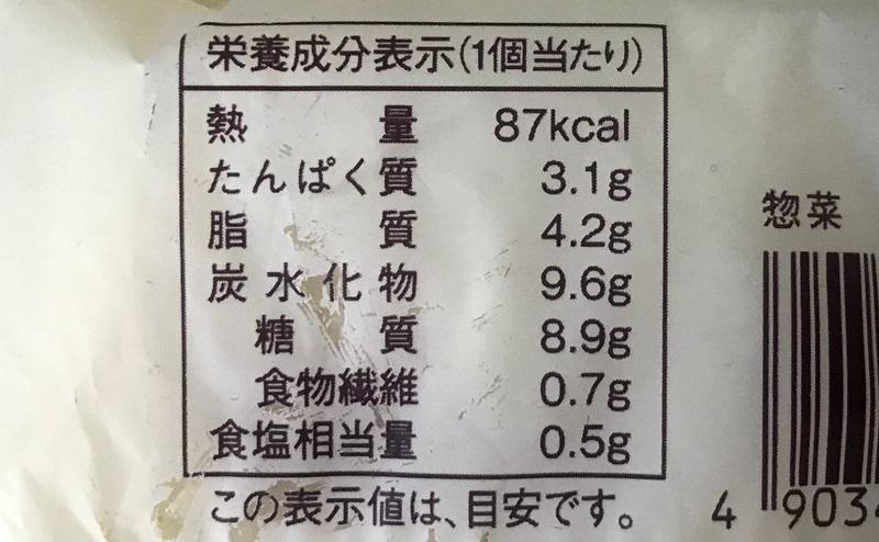 【ローソン】チーズとハムのふっくらパンの栄養成分表示