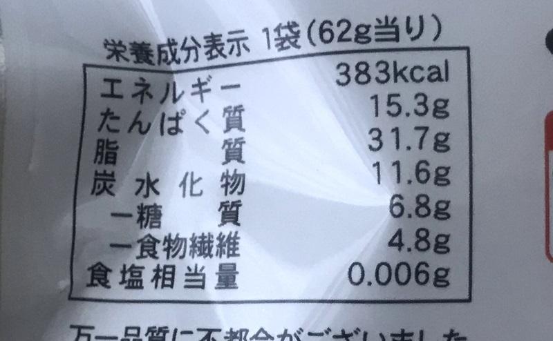 【ローソン】素焼きピーナッツの栄養成分表示