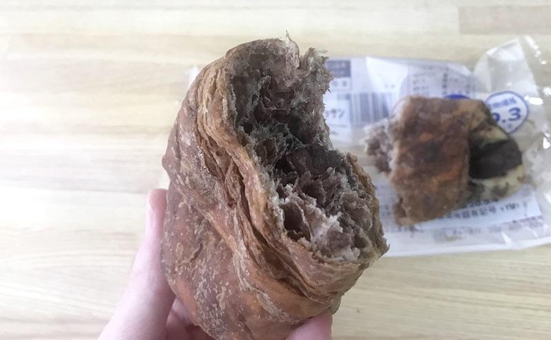 【ローソン】大麦のチョコクロワッサンの断面図