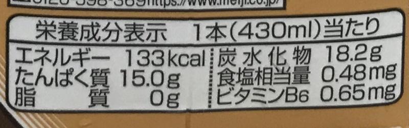 ザバス   ミルクプロテイン+ソイカフェラテ風味の栄養成分