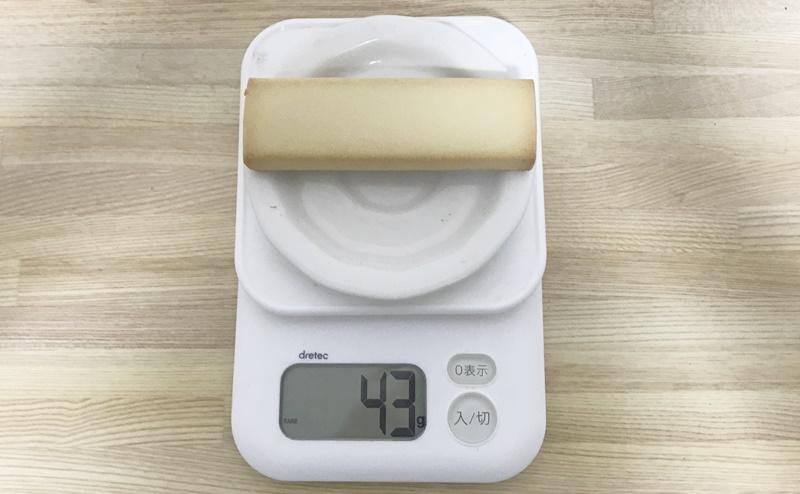 アサヒ   1本満足バー プロテイン・ラン ベイクドチーズの重さ
