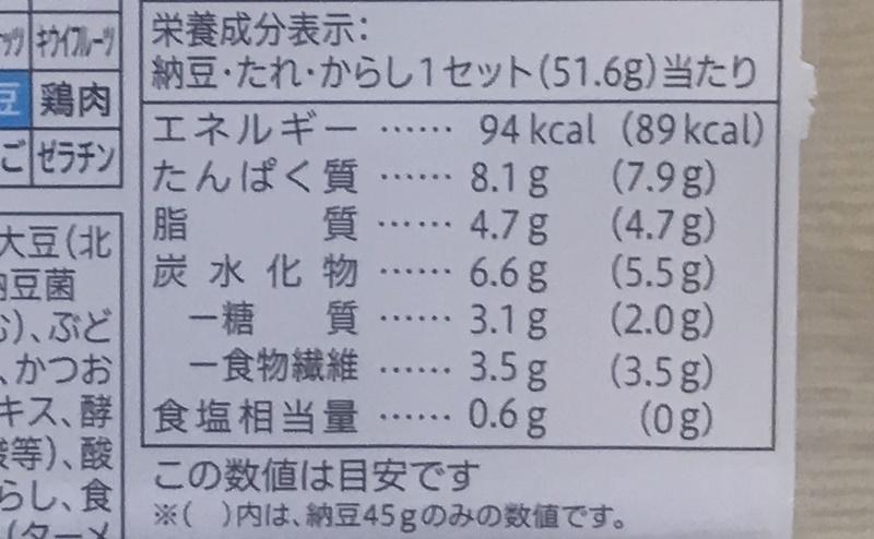 セブンイレブン   北海道産小粒 納豆 3個入の栄養成分表示