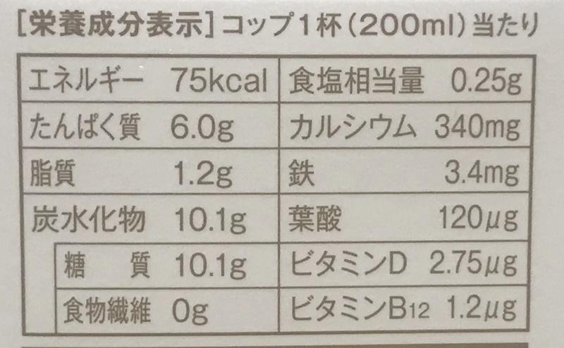 ローソン   低脂肪乳 鉄分+カルシウム入りの栄養成分表示